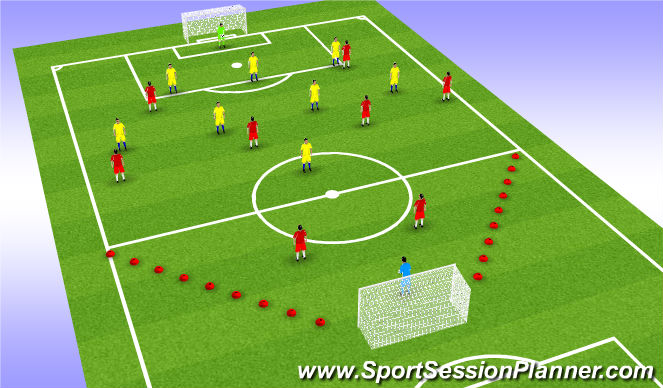 Football/Soccer Session Plan Drill (Colour): Switching The Play