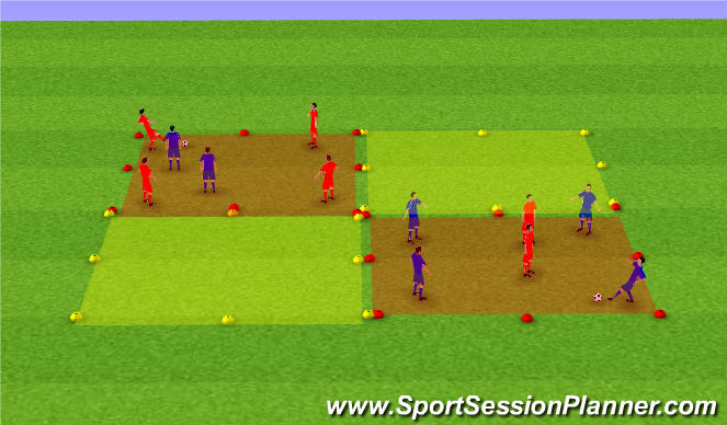 Football/Soccer Session Plan Drill (Colour): Rondo Tag