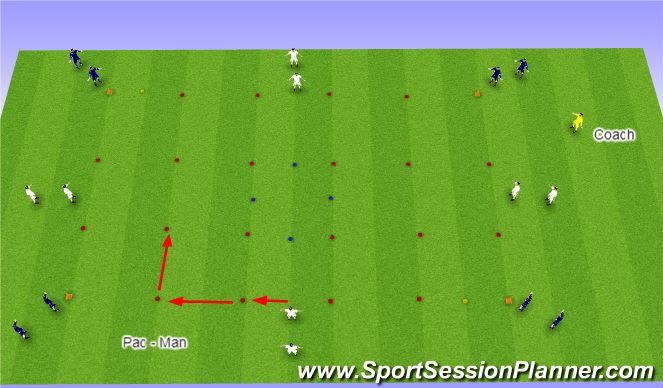 Football/Soccer Session Plan Drill (Colour): Pac - Man