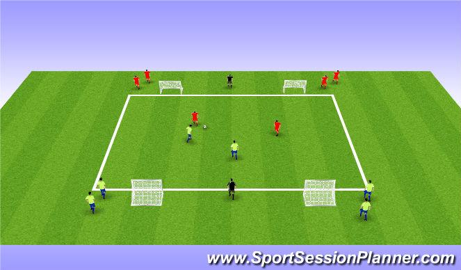 Football/Soccer Session Plan Drill (Colour): 2v2+2 Street Soccer