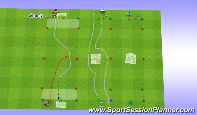 Football/Soccer Session Plan Drill (Colour): 1v1 Attacking Ben