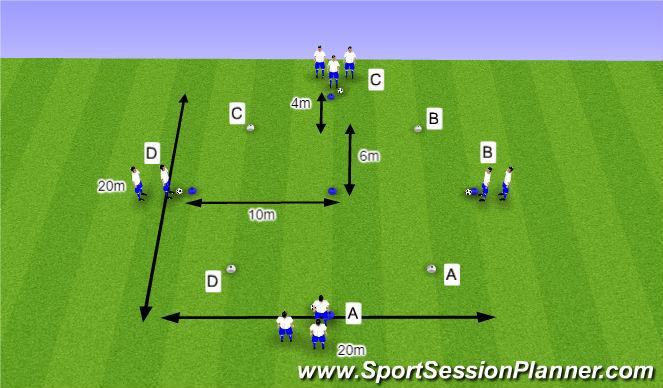 Football/Soccer Session Plan Drill (Colour): O12 - W36 (2) - H4 Halve draaien