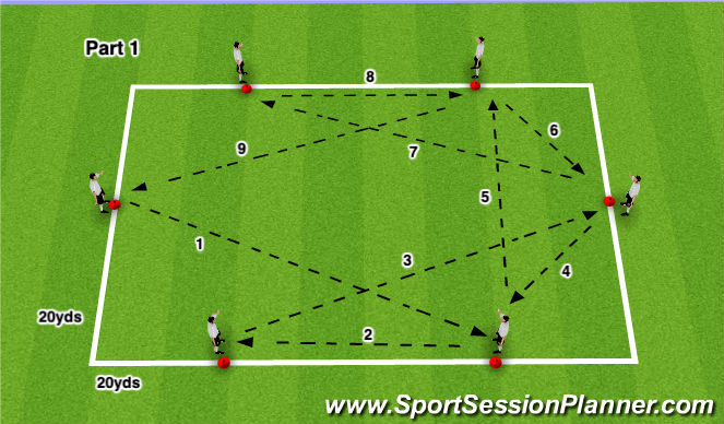 Football/Soccer Session Plan Drill (Colour): Octagon Passing 1
