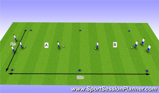 Football/Soccer Session Plan Drill (Colour): O12 - W36 (2) - H5 Schijn- en passeerbewegingen