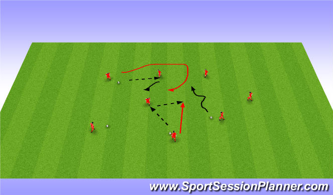 Football/Soccer Session Plan Drill (Colour): Dribbling activation WU