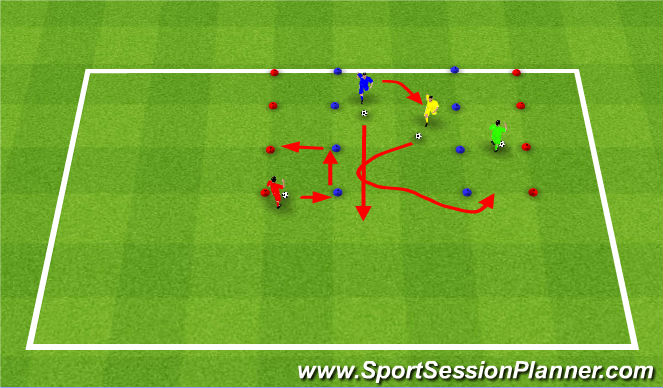Football/Soccer Session Plan Drill (Colour): Part 2 - Running with ball