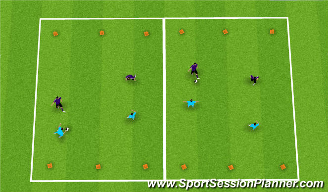 Football/Soccer Session Plan Drill (Colour): 2 vs. 2 Line Game