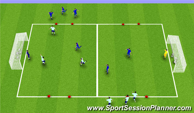 Football/Soccer Session Plan Drill (Colour): 3 v 3 Activity