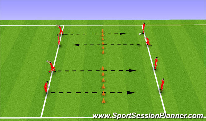 Football/Soccer Session Plan Drill (Colour): Skill: Controlling from height 02
