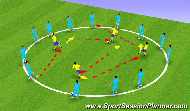 Football/Soccer Session Plan Drill (Colour): receiving : back foot