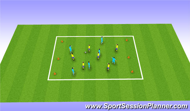 Football/Soccer Session Plan Drill (Colour): Cone game