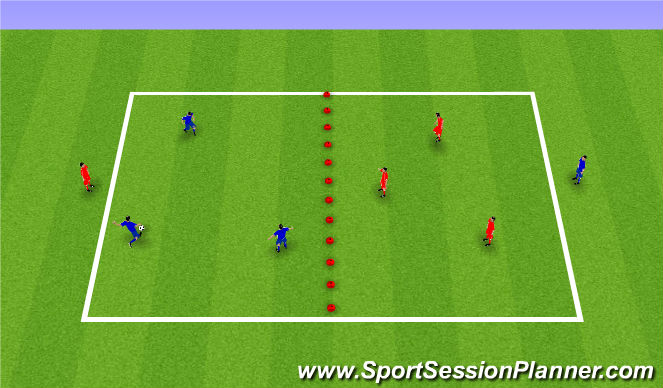 Football/Soccer Session Plan Drill (Colour): End to end sectioned passing