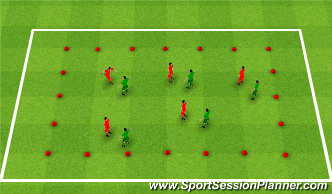 Football/Soccer Session Plan Drill (Colour): Defending 1v1 Cont