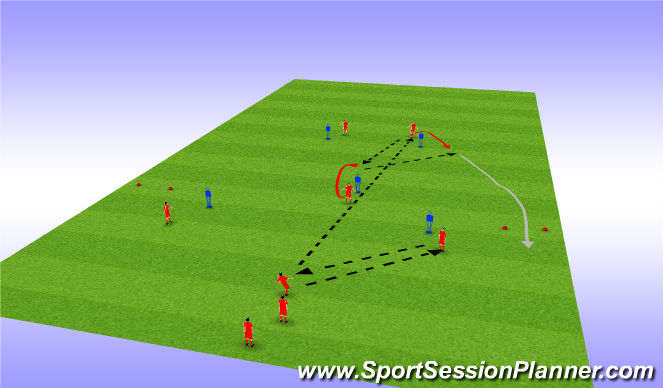 Football/Soccer Session Plan Drill (Colour): Passing 3