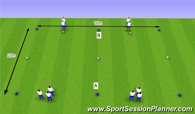 Football/Soccer Session Plan Drill (Colour): O11 - W36 (1) - H4 Halve draaien
