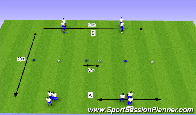 Football/Soccer Session Plan Drill (Colour): O11 - W36 (2) - H5 Schijn- en passeerbewegingen