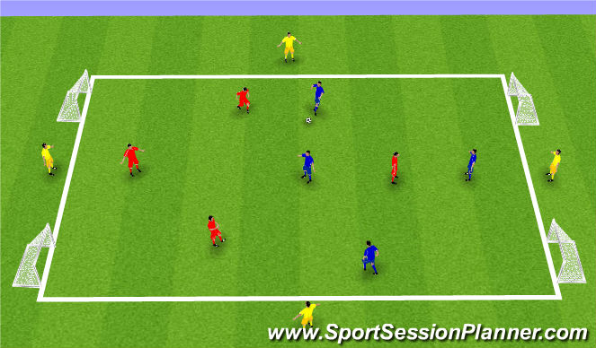 Football/Soccer Session Plan Drill (Colour): U9 SSG