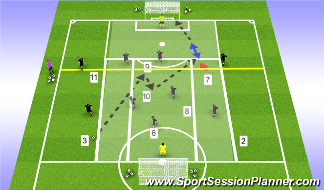 Football/Soccer Session Plan Drill (Colour): Player & Ball rotation - Whole 1