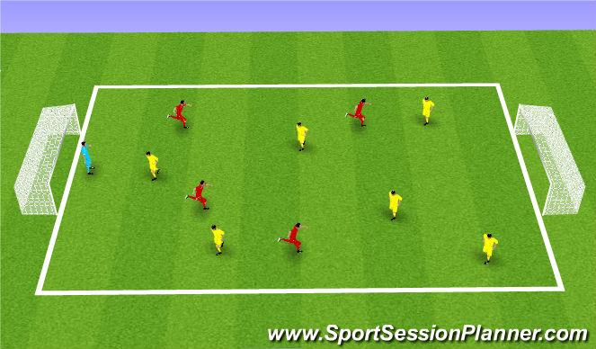 Football/Soccer Session Plan Drill (Colour): 6v4 + keeper