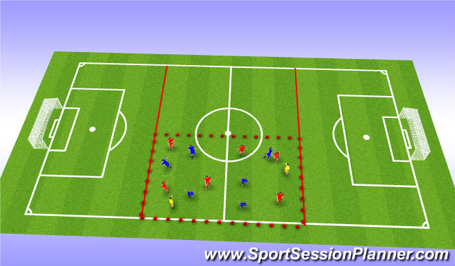 Football/Soccer Session Plan Drill (Colour): 6v6 +2 Possession Drill