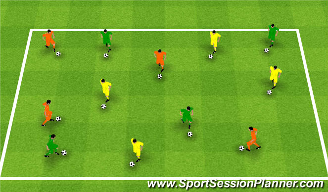 Football/Soccer Session Plan Drill (Colour): Upphitun - Knattrak