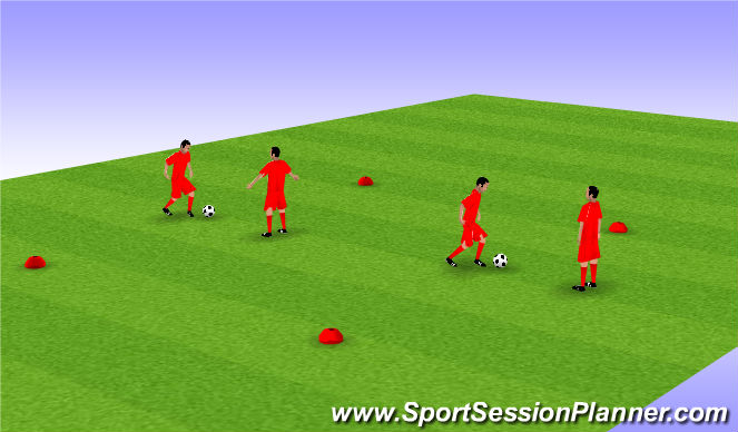 Football/Soccer Session Plan Drill (Colour): Dribbling Side to Side - Protecting ball