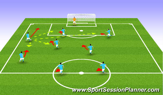Football/Soccer Session Plan Drill (Colour): Left Wing Attack 3-2-3 Formation