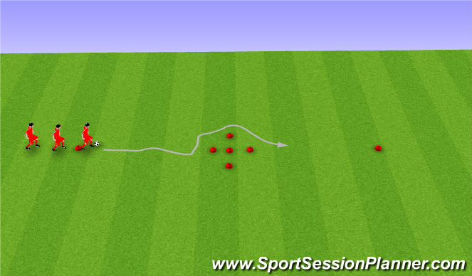 Football/Soccer Session Plan Drill (Colour): Touch Step Dribbling with Moves