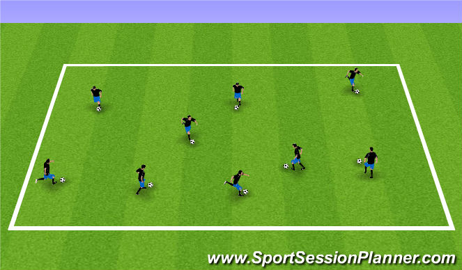 Football/Soccer Session Plan Drill (Colour): Dribbling Repetitions