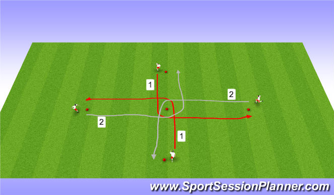 Football/Soccer Session Plan Drill (Colour): Cross Dribbling