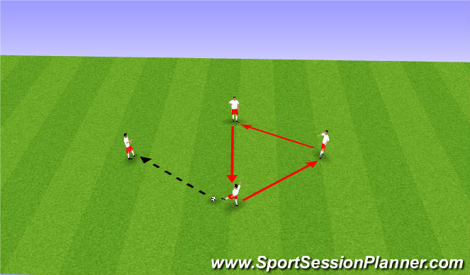 Football/Soccer Session Plan Drill (Colour): Diamond pass and move