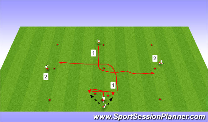 Football/Soccer Session Plan Drill (Colour): Cross Passing with Triangles