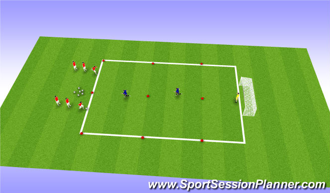 Football/Soccer Session Plan Drill (Colour): 2v1 in 2 Zones