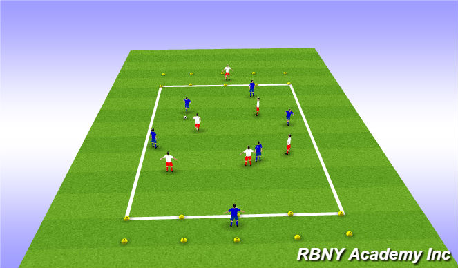 Football/Soccer Session Plan Drill (Colour): Target Game - Large Zones