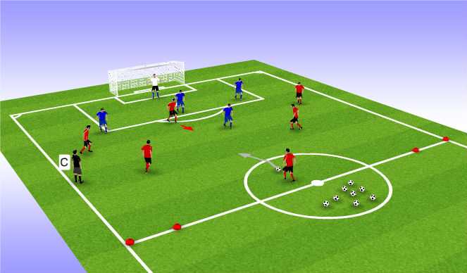 Football/Soccer Session Plan Drill (Colour): 6 v 5 with Counter  (Expanded)