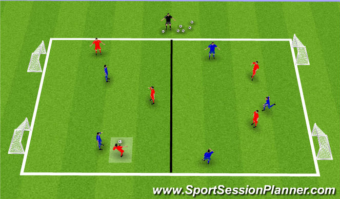 Football/Soccer Session Plan Drill (Colour): Unbalanced Numbers