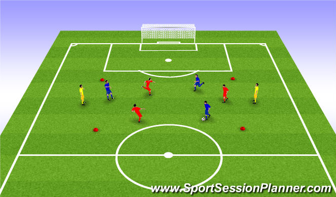 Football/Soccer Session Plan Drill (Colour): 3 v 3 w/ Neutrals