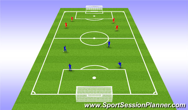 Football/Soccer Session Plan Drill (Colour): 4 v 4 w/ Goals