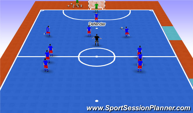 Futsal Session Plan Drill (Colour): Stage 5 - Pattern of play with opposition