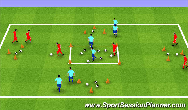 Football/Soccer Session Plan Drill (Colour): Nuts and squirrels