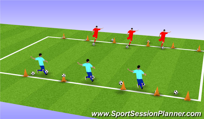 Football/Soccer Session Plan Drill (Colour): Topple me coconuts