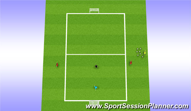 Football/Soccer Session Plan Drill (Colour): 1 v1 with bumpers
