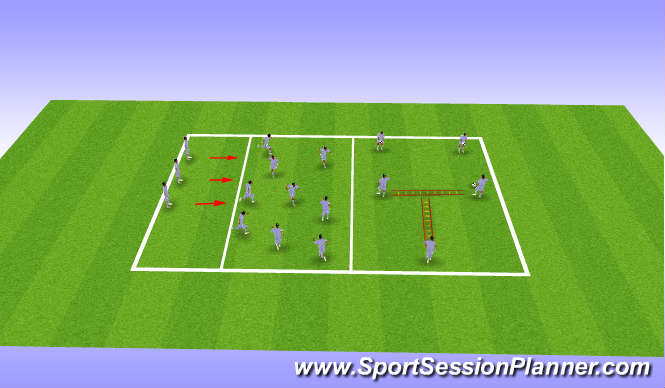 Football/Soccer Session Plan Drill (Colour): Landing mechanics and footwork