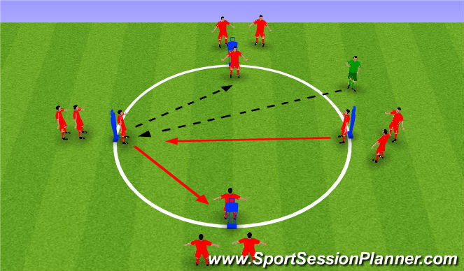 Football/Soccer Session Plan Drill (Colour): Pressing - Technical Warm up
