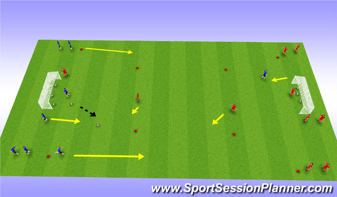 Football/Soccer Session Plan Drill (Colour): Introduce Poacher (4v2)