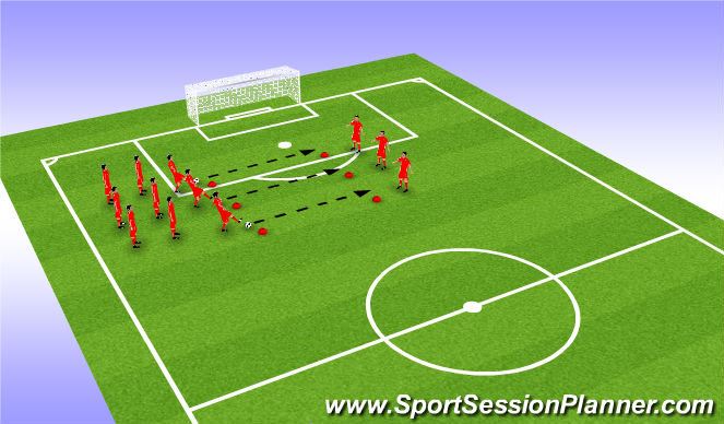 Football/Soccer Session Plan Drill (Colour): Passing In Lines