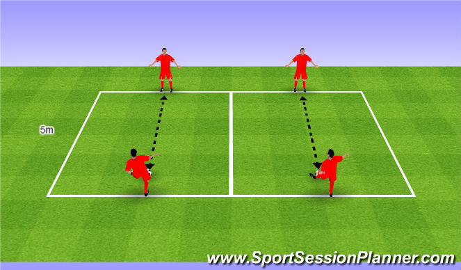 Football/Soccer Session Plan Drill (Colour): Simple passing drill. Podania