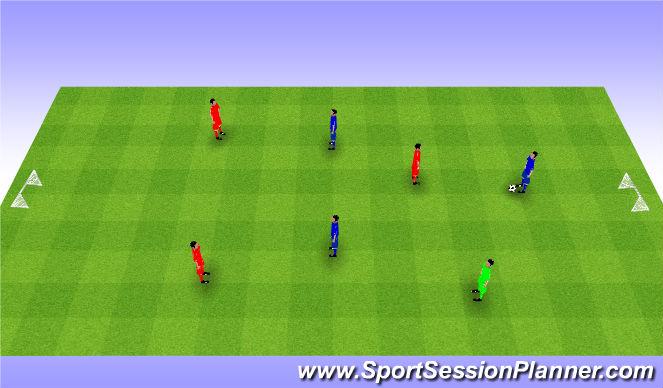 Football/Soccer Session Plan Drill (Colour): 3v3+1 game. Gra 3v3+1.