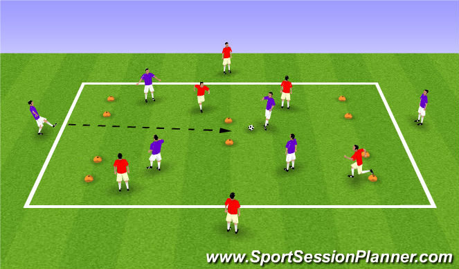 Football/Soccer Session Plan Drill (Colour): Transition in the midfield