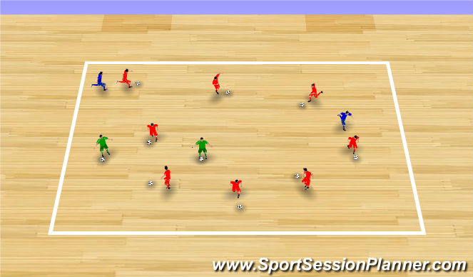 Futsal Session Plan Drill (Colour): Ice Monster